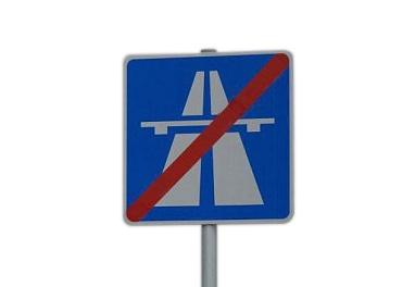 """Verkehrsschild """"Ende der Autobahn"""""""